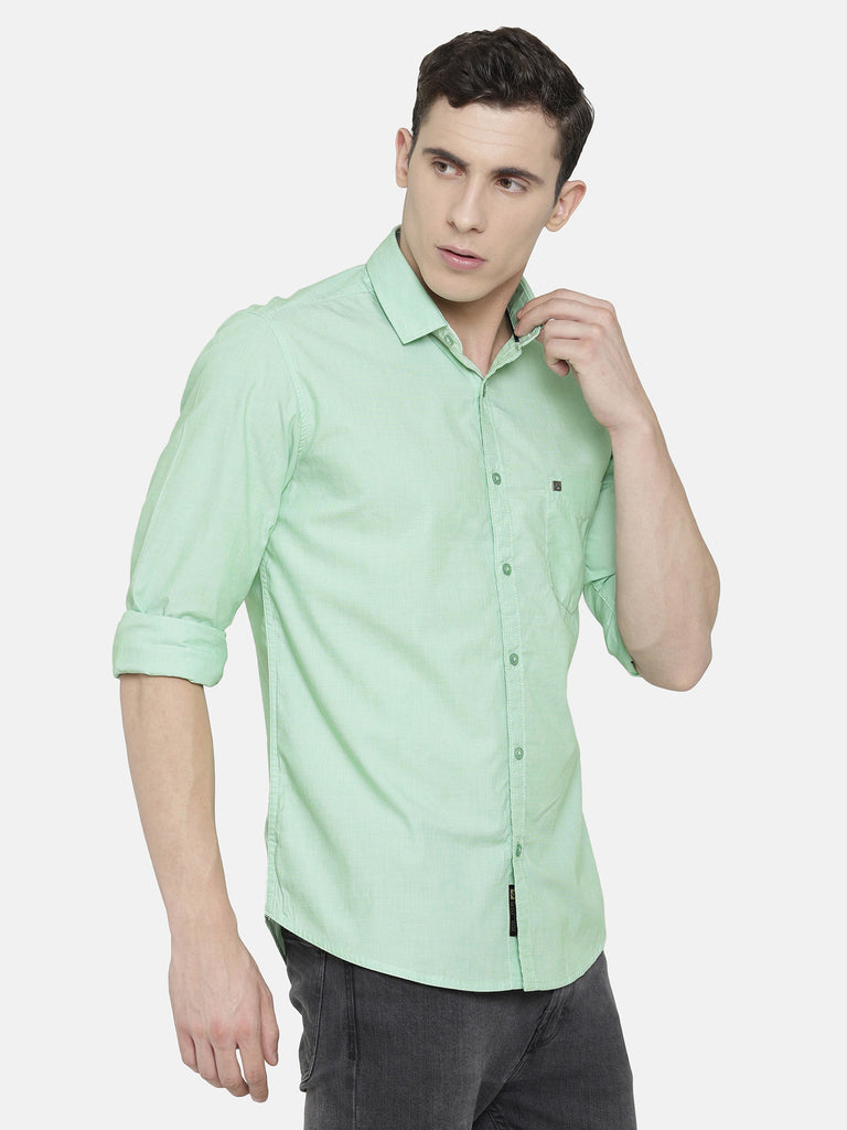 Light Green Solid structured Shirt