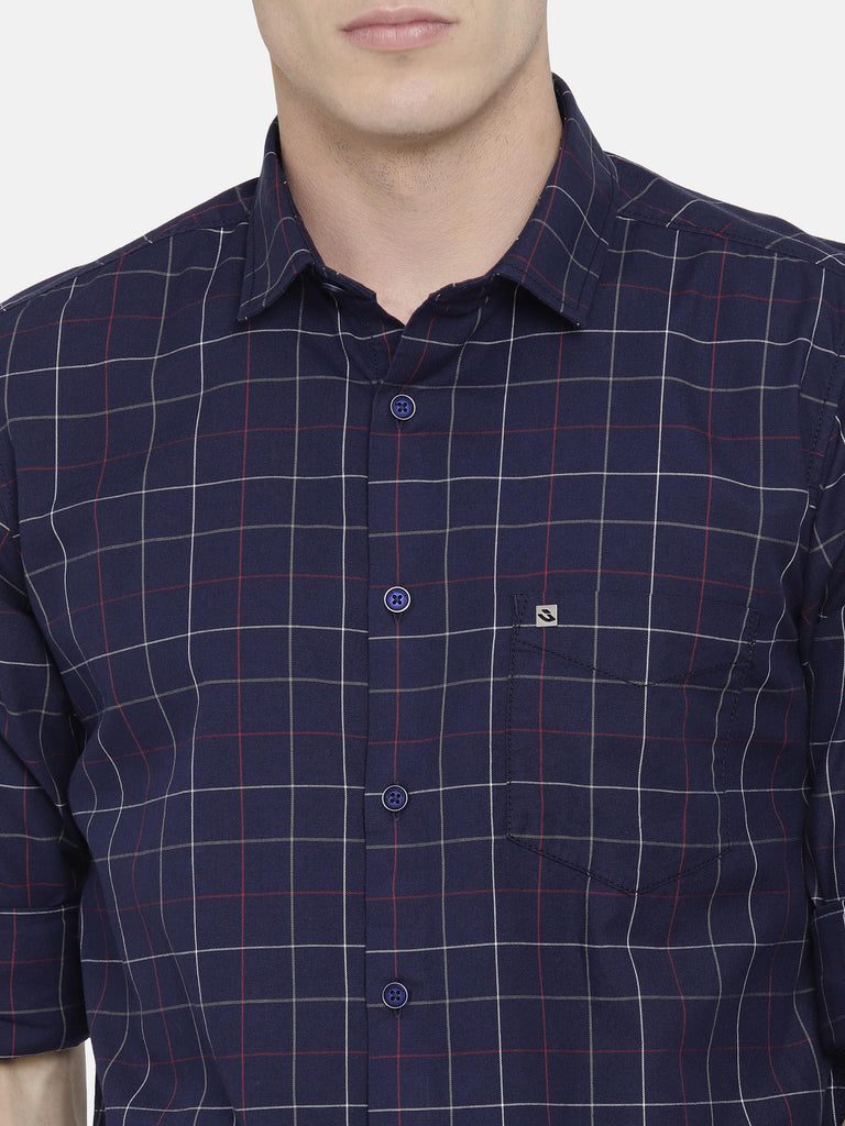 Navy Checkered Shirt