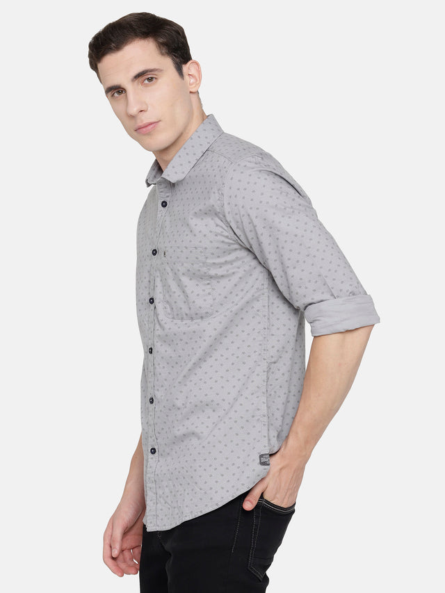 Grey Oxford Printed Shirt