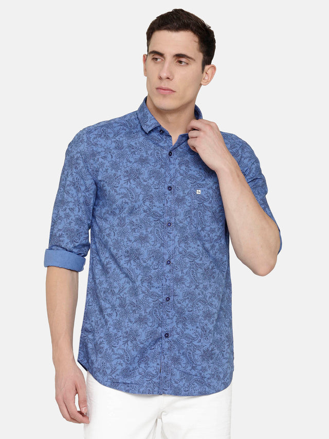 Blue Shirt with Floral Print