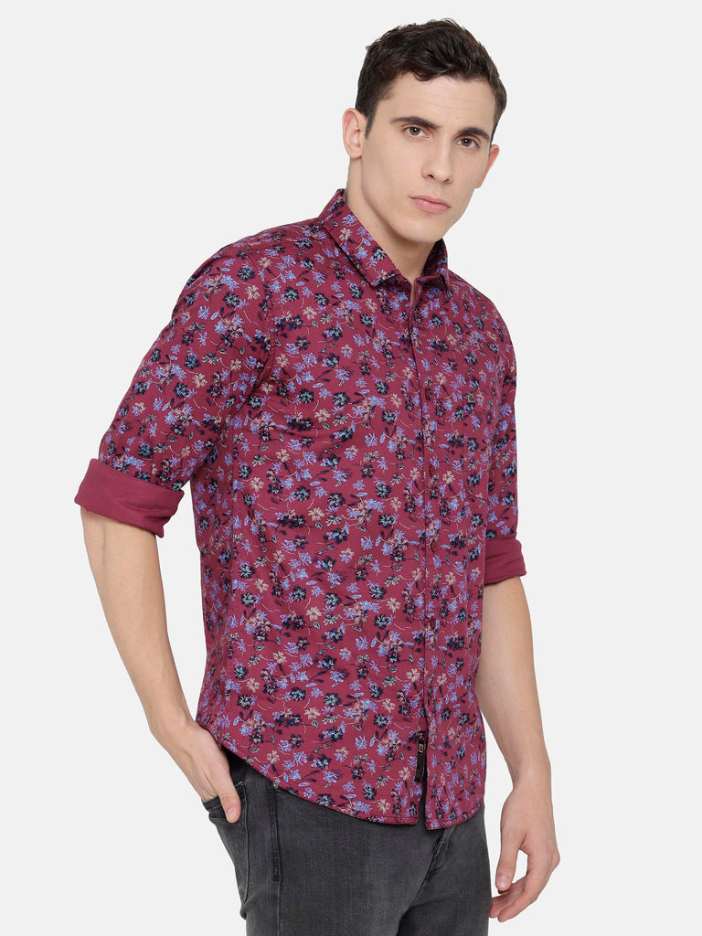 Dark Red/ Maroon Printed Shirt