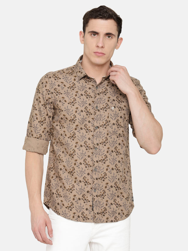 Light Brown Shirt with Floral Print