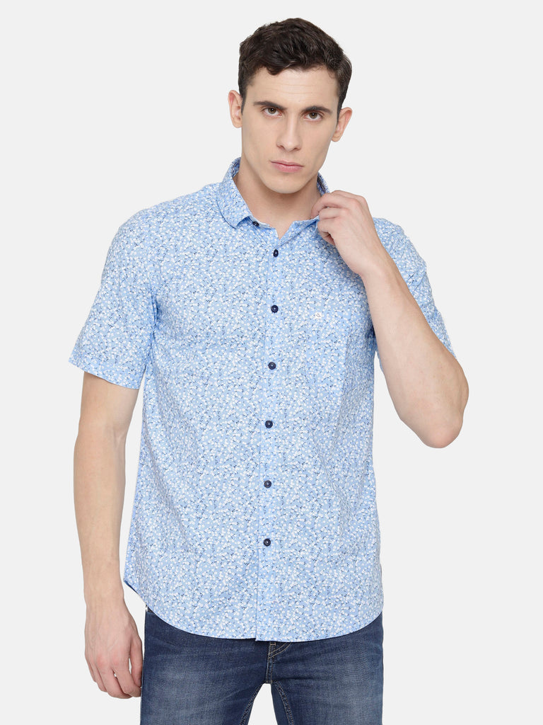 Sky Blue Floral Printed Shirt- Short Sleeve