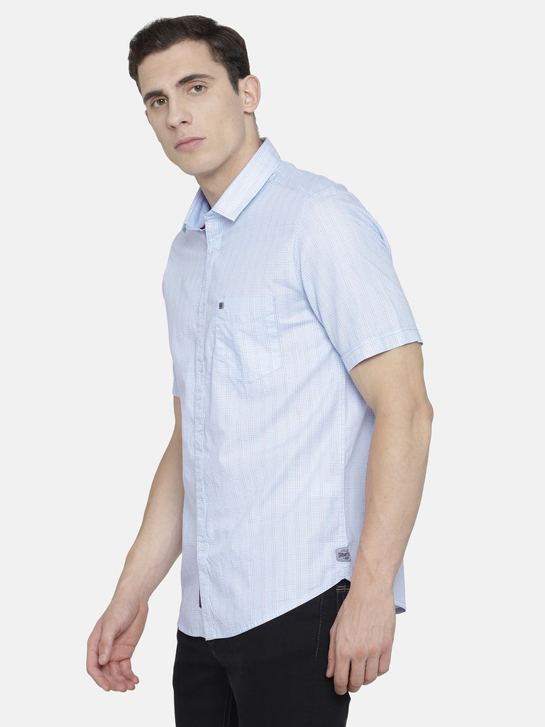 White and Light Blue Checkered Shirt