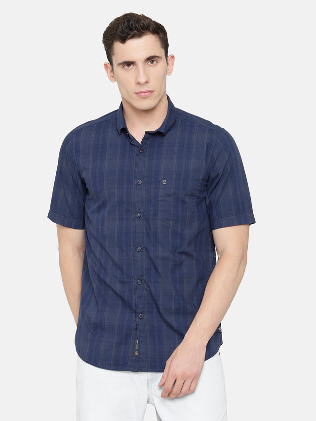 Navy Dark Grey Melange Checkered Shirt