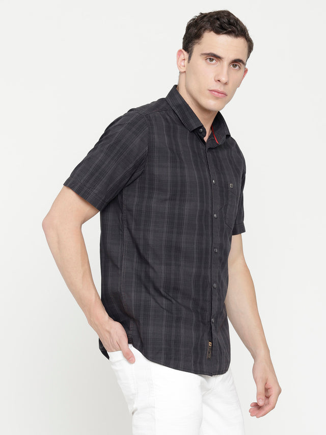 Charcoal Grey Checkered Shirt -Short Sleeve