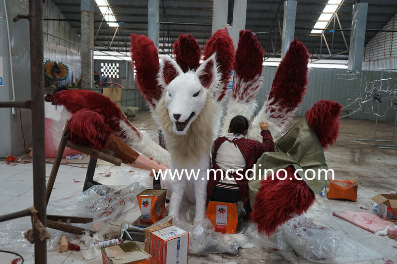 sewing process of animatronic 9 tailed fox