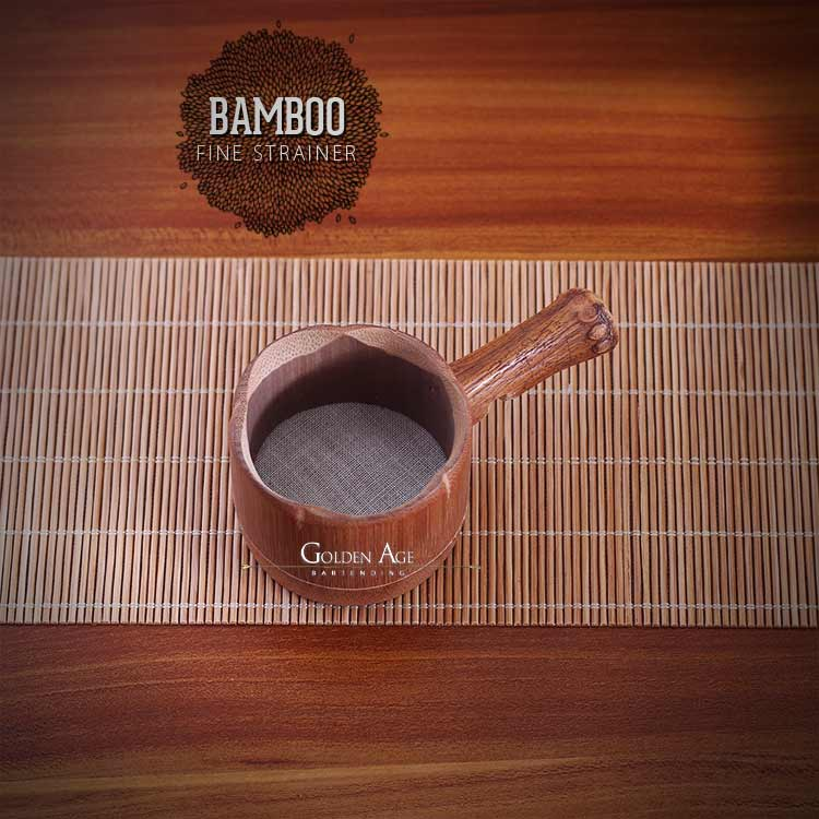 Bamboo Fine Strainer - Dark Brown - CHINA - Golden Age Bartending Bar Tools