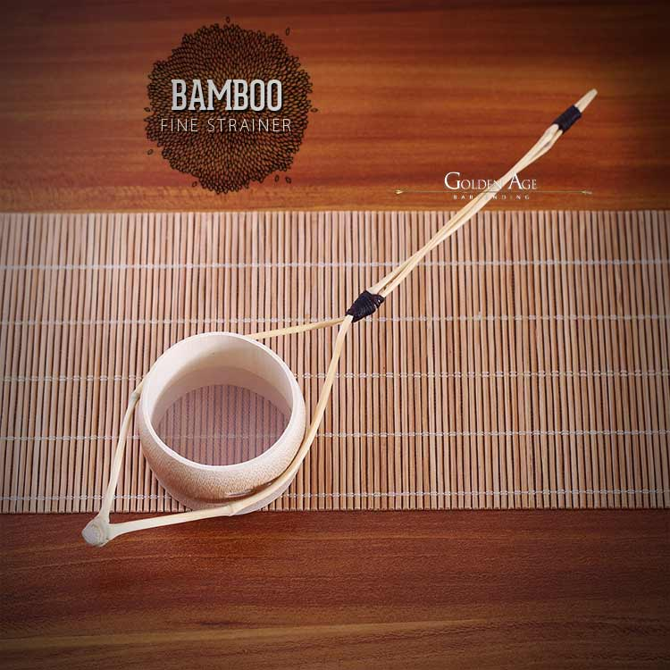 Bamboo Fine Strainer - Light Brown - CHINA - Golden Age Bartending Bar Tools