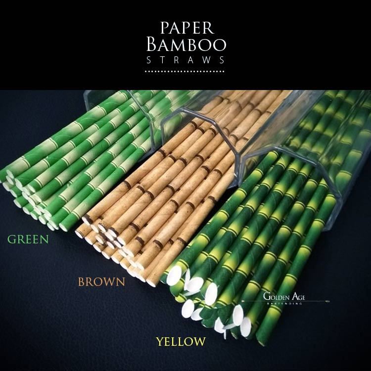 Deco straws x 25 - BAMBOO - Golden Age Bartending Bar Tools