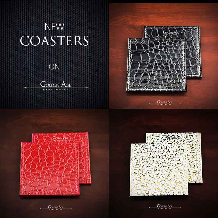 Coasters Fake Leather - Golden Age Bartending Bar Tools