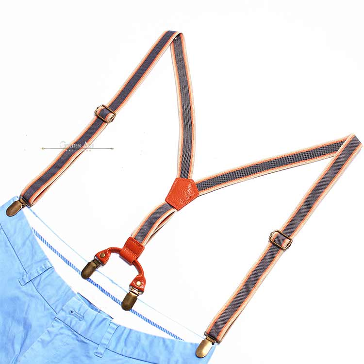 LAST ONE! Double Suspenders Blue/Brown - Golden Age Bartending Bar Tools