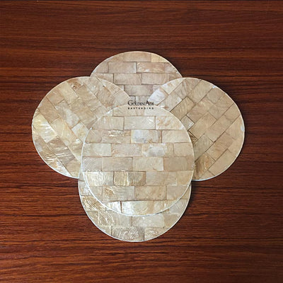 Shinny Golden Shell Coasters - Golden Age Bartending Bar Tools