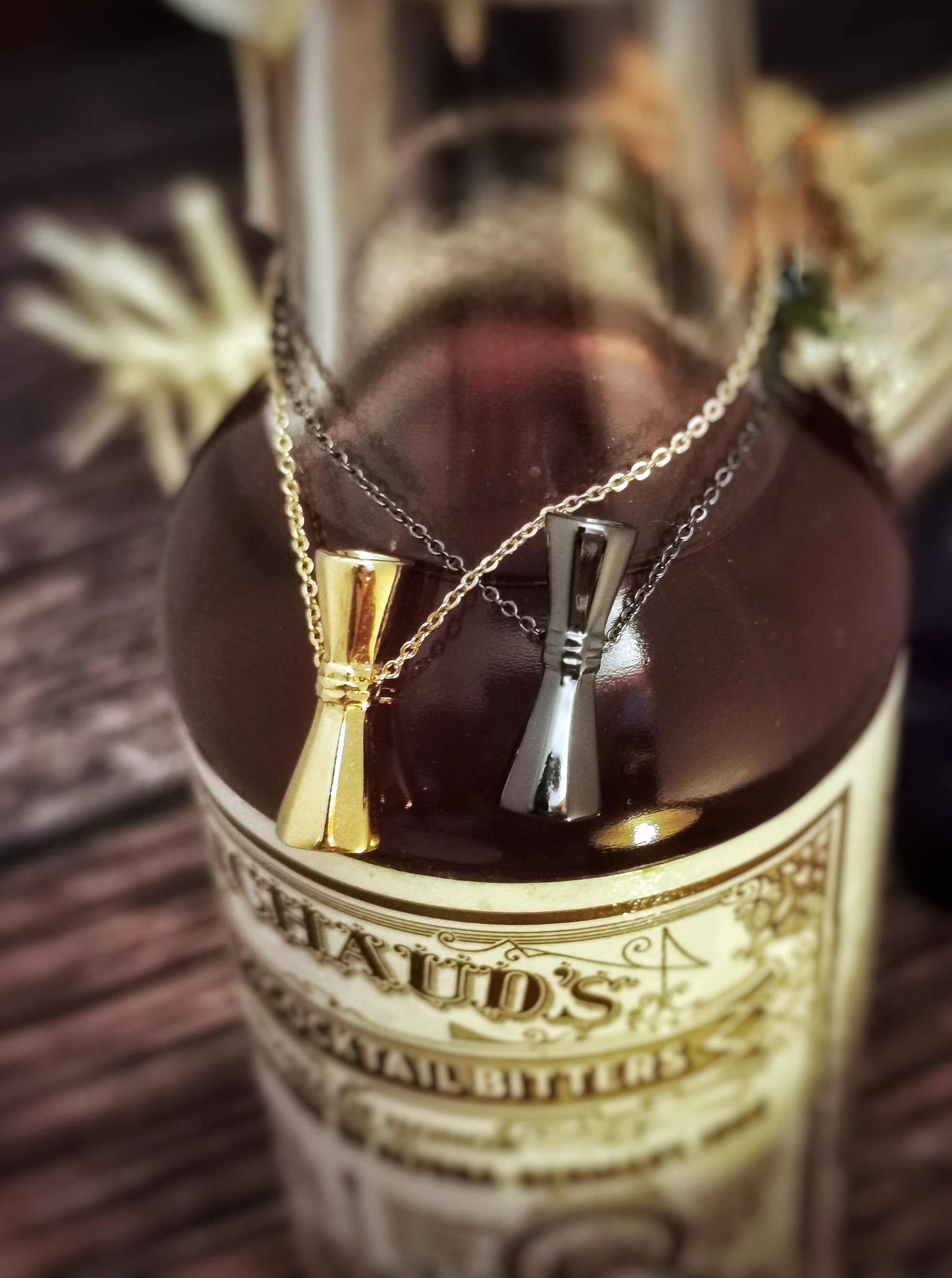 Necklaces - Octagon Jiggers + Free Shipping - Golden Age Bartending Bar Tools