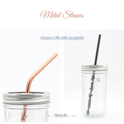 Premium Metal Straws - Golden Age Bartending Bar Tools