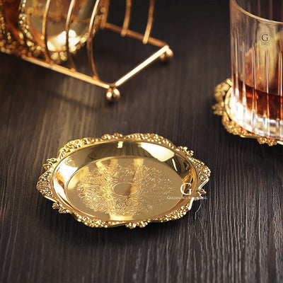 Vintage Coaster - GOLD & SILVER - FREE SHIPPING - Golden Age Bartending Bar Tools
