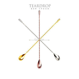 FREE SHIPPING - Teardrop Bar Spoon - different sizes and colors - Golden Age Bartending Bar Tools