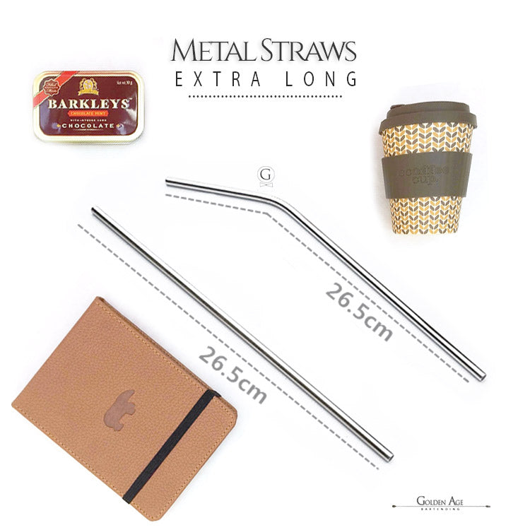 6 x Metal Straws - XL - Golden Age Bartending Bar Tools