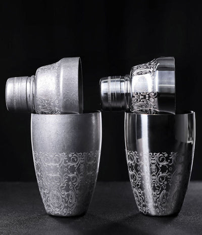 Vintage Engraved Cobbler Shaker - Golden Age Bartending Bar Tools