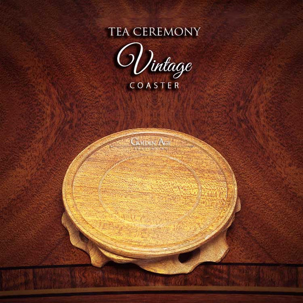 Tea Ceremony Vintage Coaster - Walnut Wood