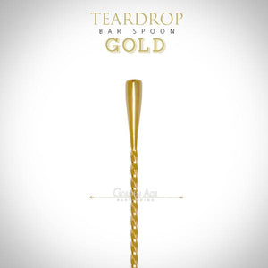 FREE SHIPPING - Teardrop Bar Spoon - many sizes & colors - Golden Age Bartending Bar Tools