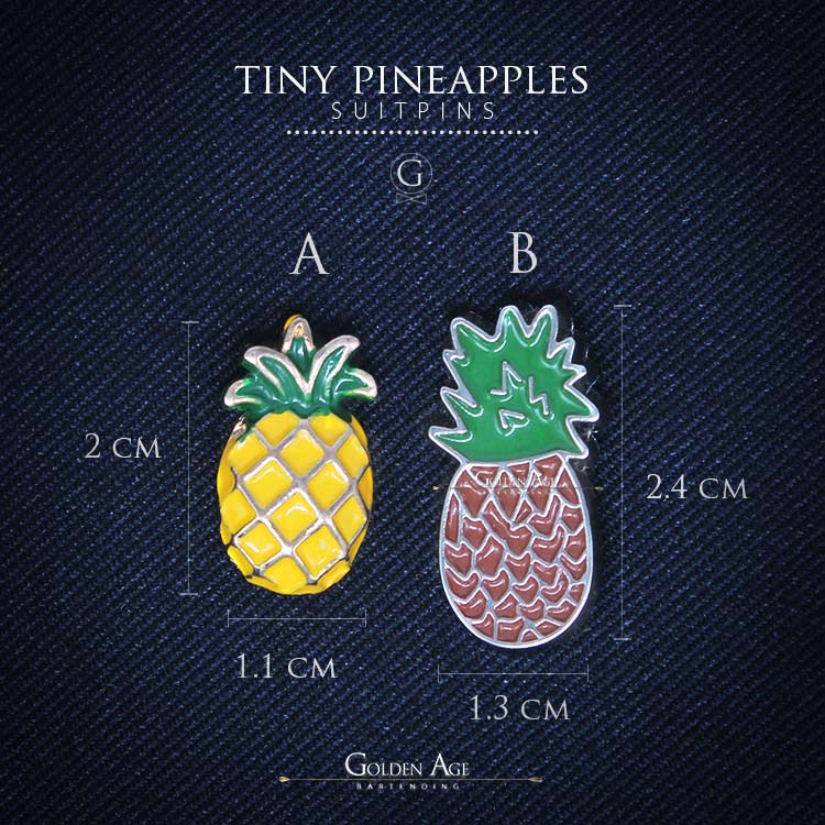Tiny Pineapple Suit Pins - Golden Age Bartending Bar Tools