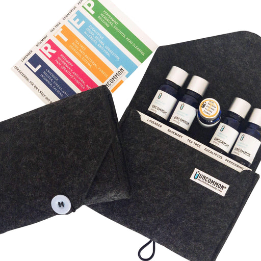 The FaB FiVe Essential Oils Kit in a Felt Travel Clutch - Peppermint, Lavender, Eucalyptus, Rosemary, Tea Tree-remedy-Uncommon Remedy