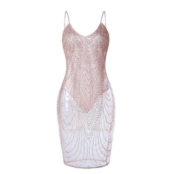 Dress - Sexy Bling Sequined Perspective Bodycon