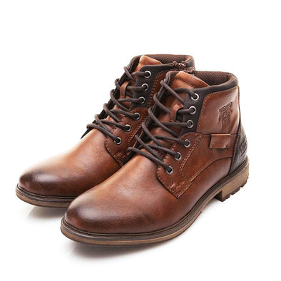 Vintage Style Men's High-Cut Lace-up Boots