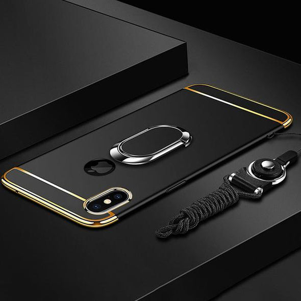 Luxury Ultra Thin 3 IN 1 Plating Magnetic Ring Holder Case For iPhone X/XR/XS/XS Max With FREE Strap