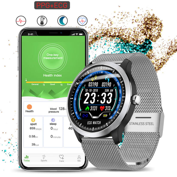 ECG PPG heart rate monitor blood pressure smartwatch