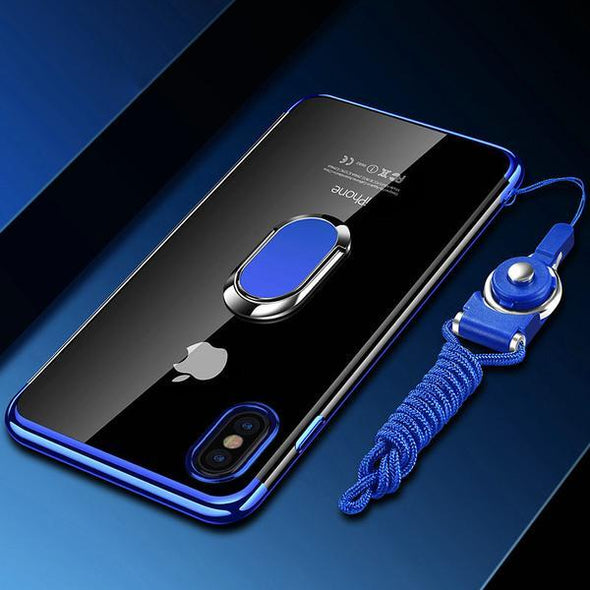 Tempered Glass Cases Soft Back Cover for iphone X XR XS Cases  Free Strap