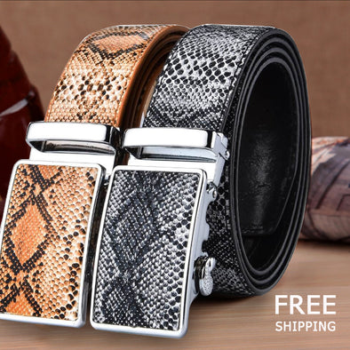 New Genuine Leather Snake Grain Belt