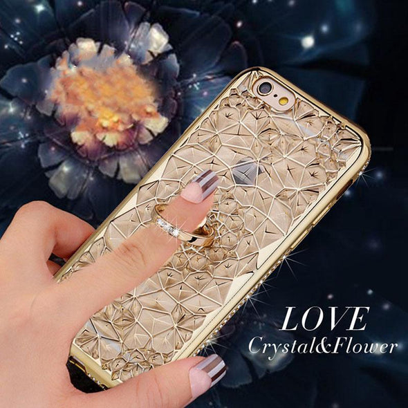 Gold Plating 3D Flower Glitter Case For iPhone
