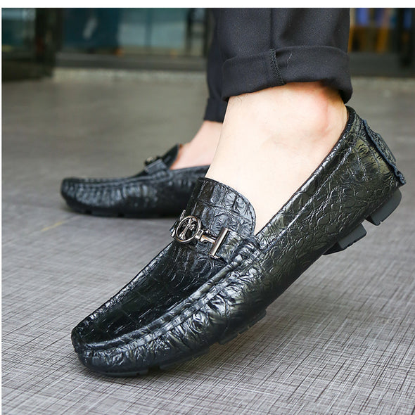 Men's 2017 autumn new breathable men's crocodile pattern leisure shoes