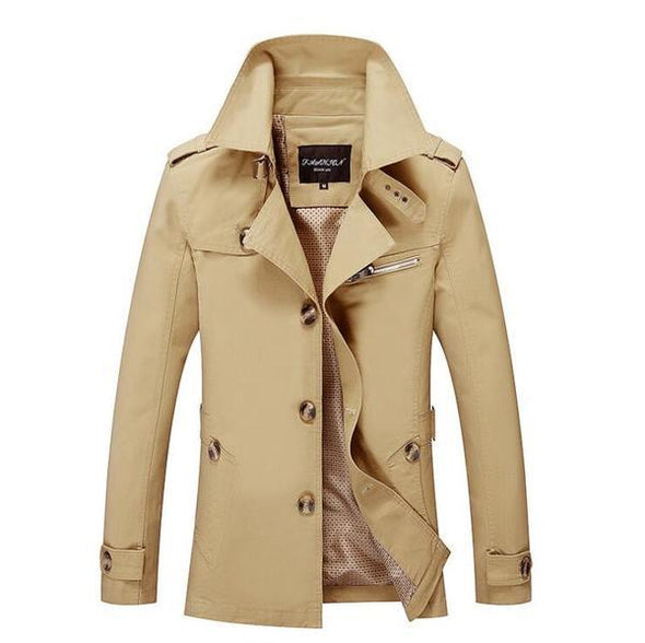 Plus Size Lapel Single-Breasted Solid Color Men's Trench Coat