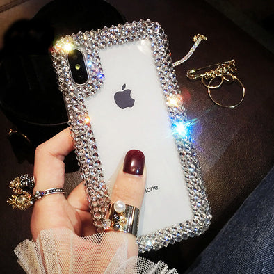 Luxury Bling Crystal Diamond Edge Transparent Back Phone Case Cover For iPhone