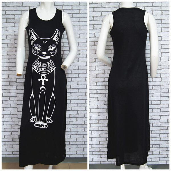 Dress - Cat Print Boho Beach Maxi Dress