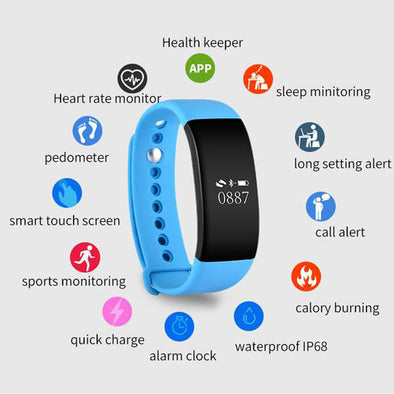 IP68 Waterproof Smartband Heart Rate/BP Monitor For Android/IOS