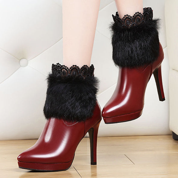 Waterproof High-heeled  Side Zipper Martin Boots With Rabbit hair