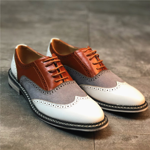 Men Lace Up Driving Formal Brogue British Shoes