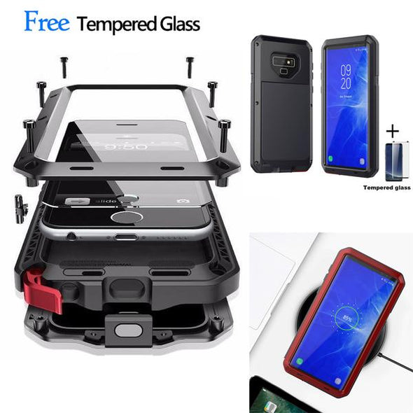 Luxury Doom Armor Dirt Shock Waterproof Metal Aluminum Phone Case for Note 9 S8 S8plus S9 S9Plus Note 8 + Tempered Glass
