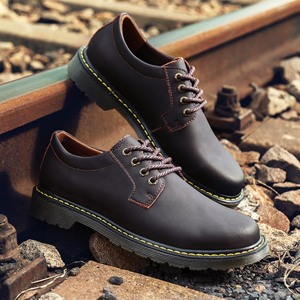 Autumn and winter new men's big shoes breathable British tooling shoes