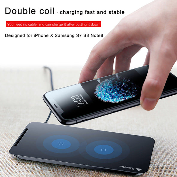 Wireless Charger For iPhone X 8/8 Plus Samsung Note 8 S8 S7