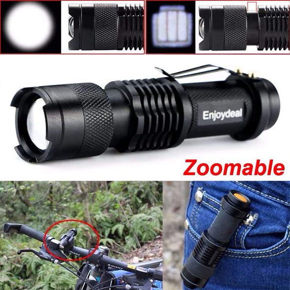 New Mini Flashlight LED Torch Adjustable Zoom Focus Torch Lamp Penlight Waterproof