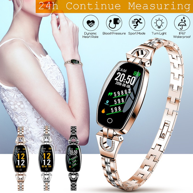 New Blood Pressure Heart Rate Monitor Fitness Tracker IP67 Waterproof Female Smartwatch