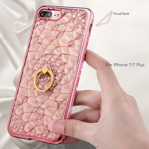 3D Glitter Luxury Silicone Soft Gel Case With Ring For iPhone