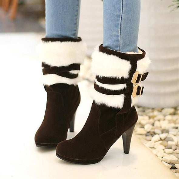 Fashion Women High Heel Half Short Boots