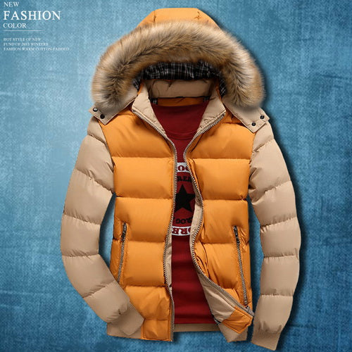 Men Winter Warm Windproof Cotton-Padded Jacket