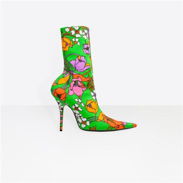 Fashion Floral Print Stiletto Heel Ankle Boot